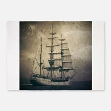 vintage pirate ship landscape 5'x7'Area Rug