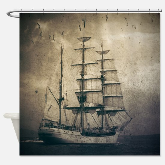 vintage pirate ship landscape Shower Curtain