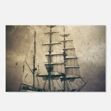 vintage pirate ship lands Postcards (Package of 8)