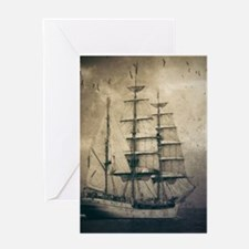 vintage pirate ship landscape Greeting Cards