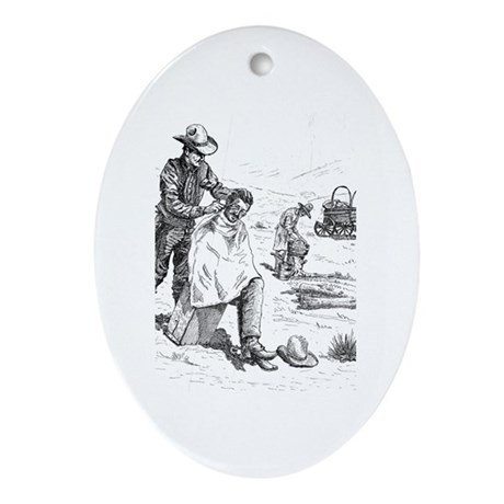 Prairie Barber Oval Ornament