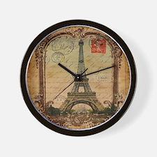 vintage scripts postage paris eiffel to Wall Clock