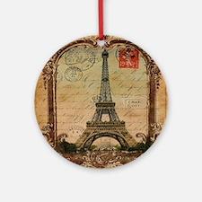 vintage scripts postage paris eif Ornament (Round)