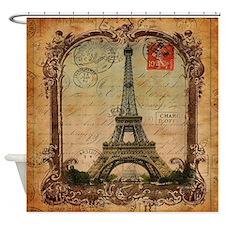 vintage scripts postage paris eiffe Shower Curtain