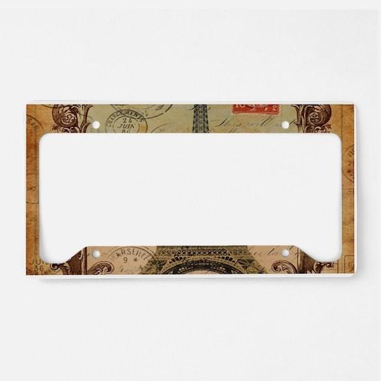 vintage scripts postage paris License Plate Holder