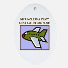 Uncle's Co-Pilot Airplane Oval Ornament