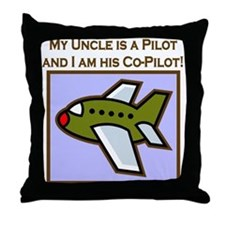 Uncle's Co-Pilot Airplane Throw Pillow