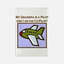 Grandpa's Co-Pilot Airplane Rectangle Magnet