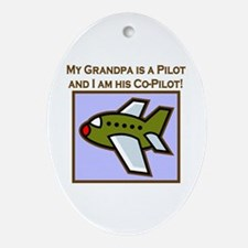 Grandpa's Co-Pilot Airplane Oval Ornament