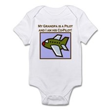 Grandpa's Co-Pilot Airplane Infant Bodysuit