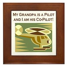 Grandpa's Co-Pilot Helicopter Framed Tile