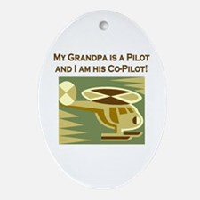 Grandpa's Co-Pilot Helicopter Oval Ornament