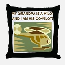 Grandpa's Co-Pilot Helicopter Throw Pillow