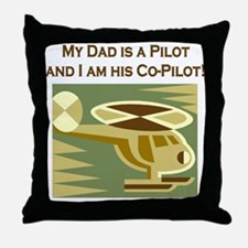 Dad's Co-Pilot Helicopter Throw Pillow
