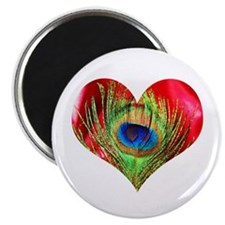 Red Peacock Heart Magnet