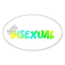 50 Percent Bi-Sexual Oval Decal