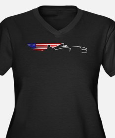 Formula 1 USA Women's Plus Size V-Neck Dark T-Shir