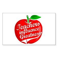 Teachers Influence Greatness Rectangle Decal