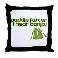 Banjos Paddle Faster Throw Pillow