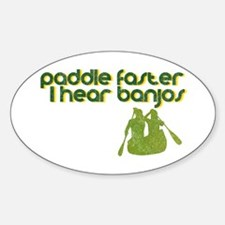 Banjos Paddle Faster Oval Bumper Stickers