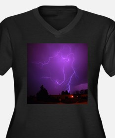 Lightning Strike Women's Plus Size V-Neck Dark T-S