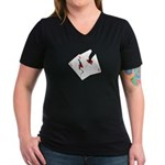 Cracked Aces Women's V-Neck Dark T-Shirt