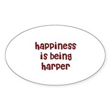 happiness is being Harper Oval Decal
