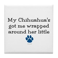 Wrapped Around Her Paw (Chihuahua) Tile Coaster