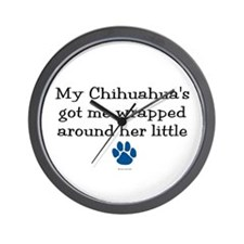 Wrapped Around Her Paw (Chihuahua) Wall Clock