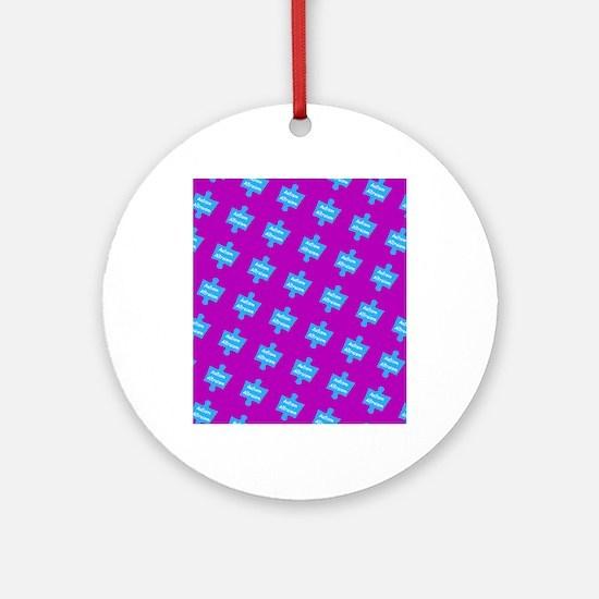 Autism Altruism Purple Blue Puzzl Ornament (Round)
