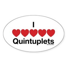 I Love Quintuplets Oval Decal