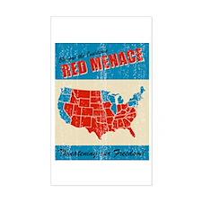 Retro Red (states) Menace Sticker (Rect.)