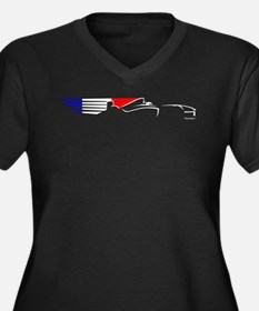 Formula 1 French Women's Plus Size V-Neck Dark T-S
