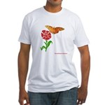 Butterfly and Flower Fitted T-Shirt