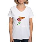 Butterfly and Flower Women's V-Neck T-Shirt
