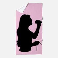 Female Singer Pink Beach Towel
