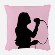 Female Singer Pink Woven Throw Pillow