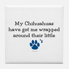 Wrapped Around Their Paws (Chihuahua) Tile Coaster