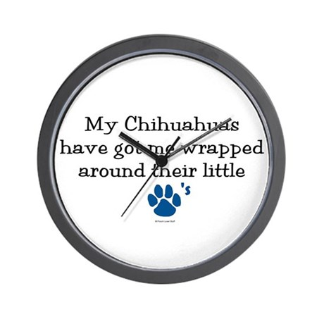 Wrapped Around Their Paws (Chihuahua) Wall Clock