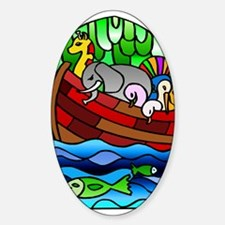 Noah's Ark Stained Glass Oval Decal