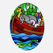 Noah's Ark Stained Glass Oval Ornament