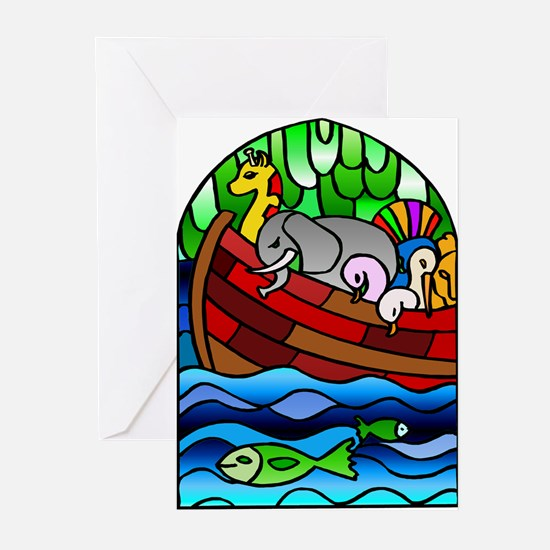 Noah's Ark Stained Glass Greeting Cards (Package o