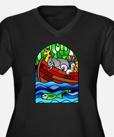 Noah's Ark Stained Glass Women's Plus Size V-Neck