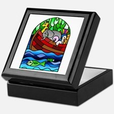 Noah's Ark Stained Glass Keepsake Box