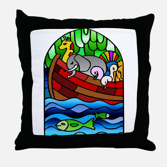 Noah's Ark Stained Glass Throw Pillow