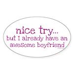 My BoyFriend is Awesome Oval Sticker