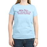 My BoyFriend is Awesome Women's Light T-Shirt