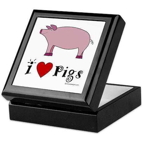 Pig Tile Keepsake Box: I love Pigs
