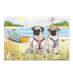 Rowboat / Two Fawn Pugs Postcards (Package of 8)