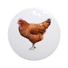 Red Hen Ornament (Round)